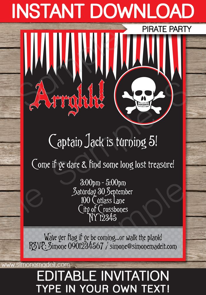 Best 25+ Pirate invitations ideas on Pinterest | Pirate party ...