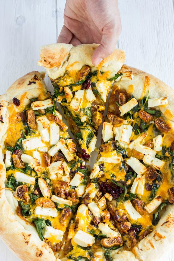 Vegetarian Pizza with Caramelized Onions, Spinach, Figs, and Feta Cheese