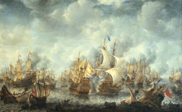 The Battle of Scheveningen (Battle of Ter Heide) was painted by Jan Abrahamsz between 1653 and 1666. The flagship of Admiral Tromp, the Brederode and the Resolution under the flag of Monck can be seen in the middle of this painting.  Rijksmuseum Amsterdam