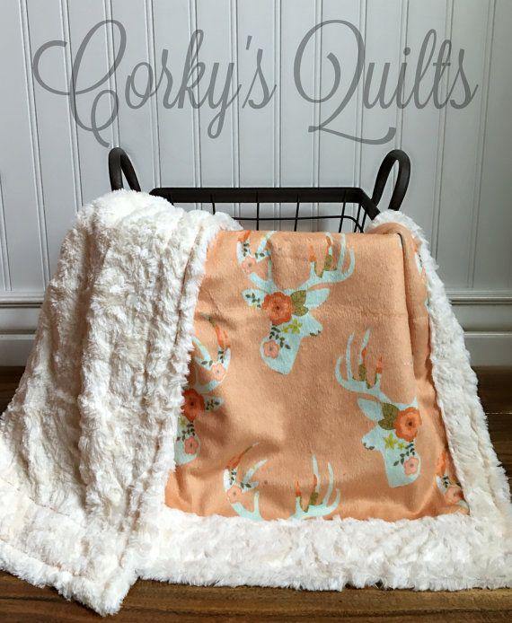 Floral Deer Designer Minky Baby Blanket by CorkysQuilts on Etsy