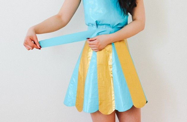 Make a Duct Tape Dress - Quirky, cool and totally unique. Loving the scalloped edge. Tutorial by @kirsten_nunez at @ehow #Style