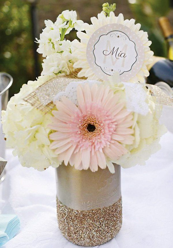 pink and white girl baby shower flowers