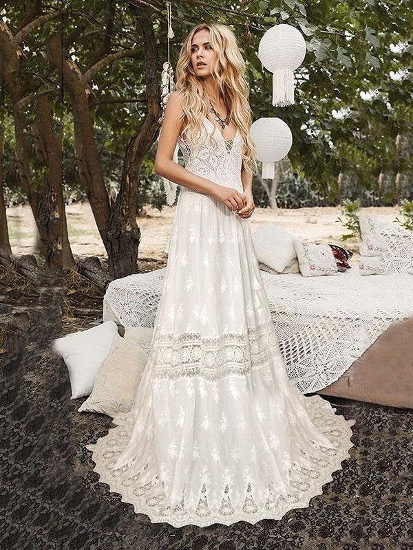5dcc8d4219b2 Lace Hollow Spaghetti-neck Bohemia Wedding Dress in 2019 | Style Me ...