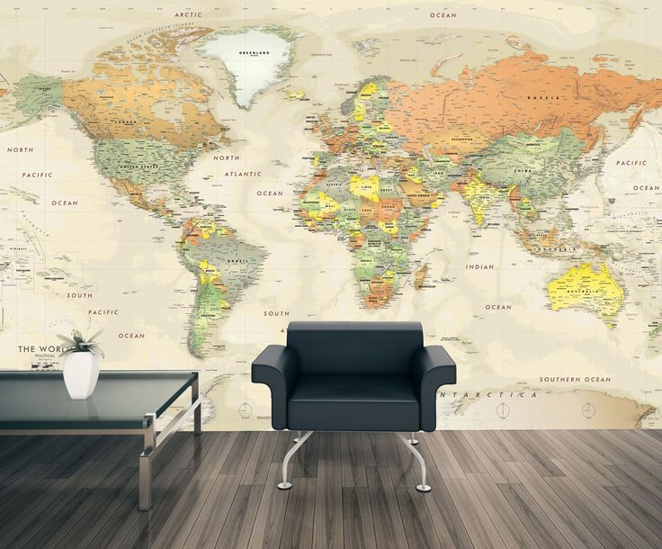 Detailed Antique Oceans World Map Mural - The detailed Antique Oceans wall mural is a classic looking map that features thousands of placename labels. The stylish design blends neutral shades of light tan and parchment ocean colors with countries illustrated in warm contrasting colors. A layer of eye-popping shaded relief brings mountain ranges and terrain to life.