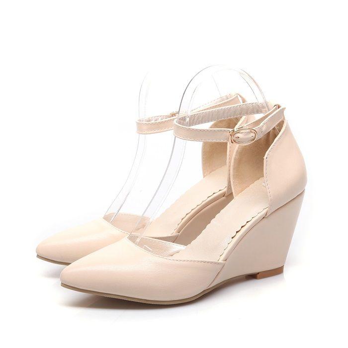 Новый летний мода женщины туфли на высоком каблуке клин туфли на высоком каблуке женщин на высоких каблуках сексуальный острым носом пряжка свадьба ну вечеринку платформы туфли на высоком каблуке для женщин купить на AliExpress