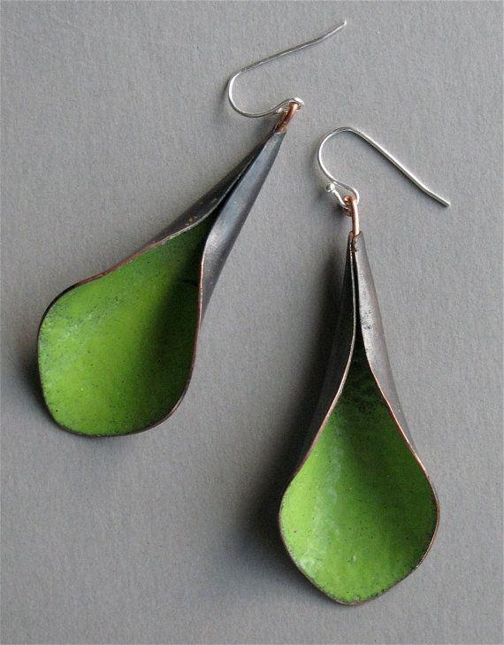 Handmade green  lily earrings copper enamel