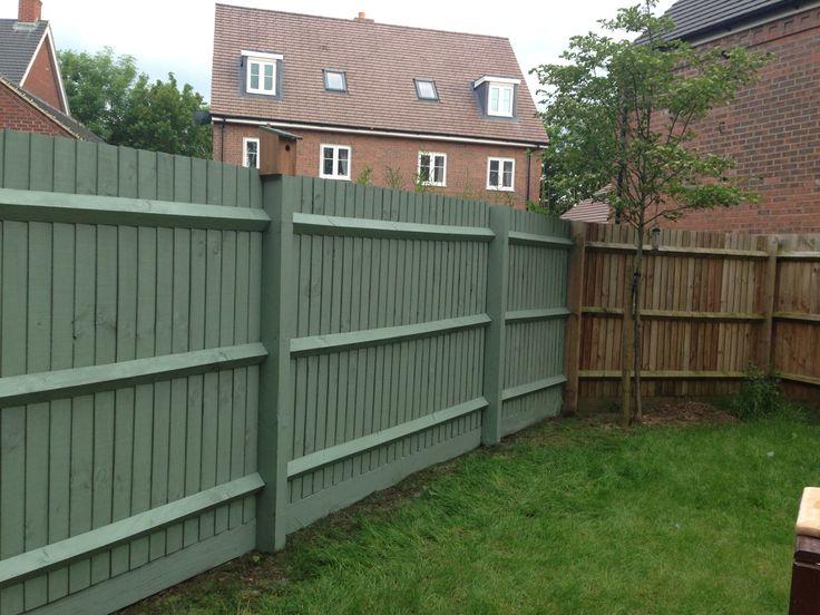 Cuprinol garden shade willow Garden fence painted in willow