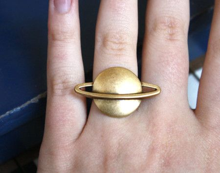 90s Saturn Brass Planet Cocktail Ring