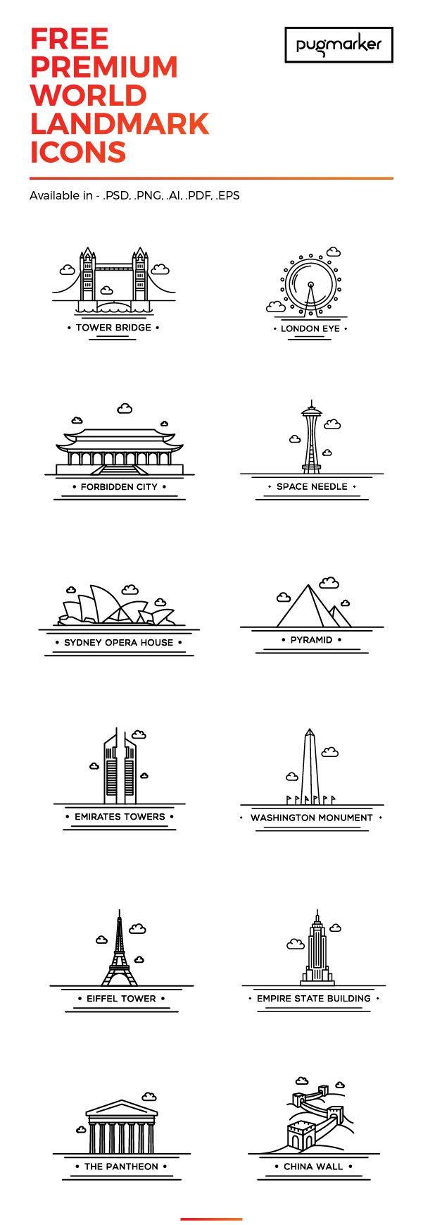 12 iconos gratuitos de las principales ciudades del mundo