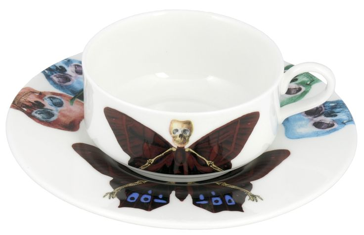 'Profundus' Mocha Cup & Saucer taken from the 'Lepidoptera' range designed by Maxim from The Prodigy. Based on imagery drawn from his wonderful paintings, this range features an array of unusual creatures. Butterfly design on cup continues onto saucer. Saucer also features edgy skulls taken from each six designs. Rear of mocha cup features a 22kt gold butterfly detail. Fine Bone China. Made in Stoke-on-Trent, England.