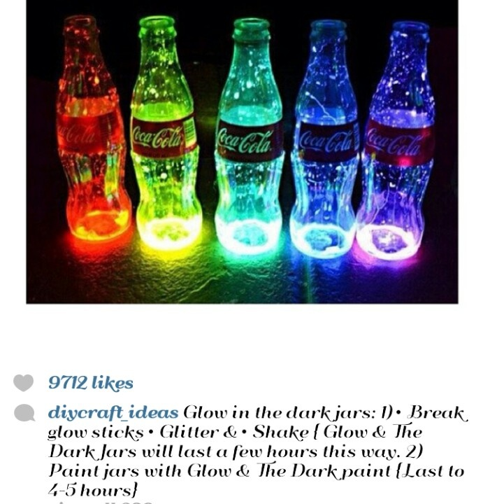 Glow in the dark jars. Cut open a glow stick and pour it in a