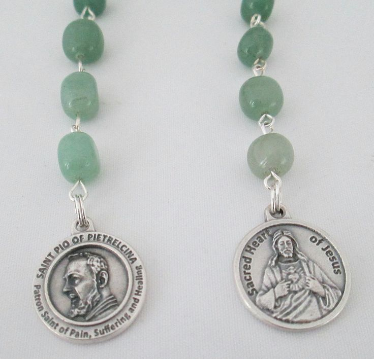 Padre Pio Rosary Novena, Patron Saint of Healing, Devotional Chaplet, Catholic Rosary, Sacred Heart, Green Aventurine Rosary, Etsy UK - pinned by pin4etsy.com