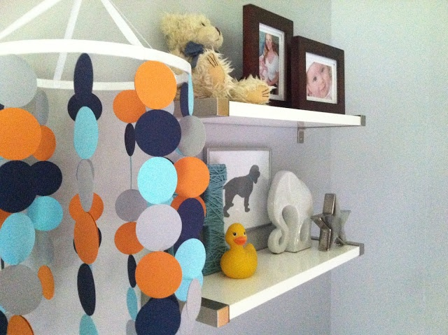 blue, orange, turquoise boy nursery