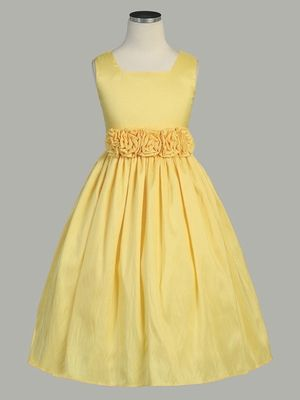 For my Renate Grace, as she would make the prettiest little flower girl I could ever imagine! With a crown of French braids around her head, dotted with blue cornflowers! Yellow Flower Girl Dress - Taffeta Dress w/ Flower Cummerbund