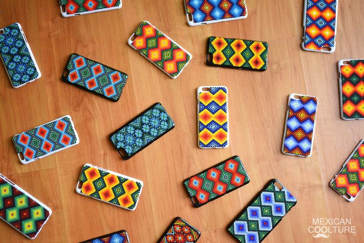 www.mexicancooltu... iPhone cover case made by the Wixárika artists. (Craftsmanship: Bead art) For #iphone4 #iphone5 #iphone6 and #iphone6PLUS #mexicancoolture #handmade #huichol #covercase
