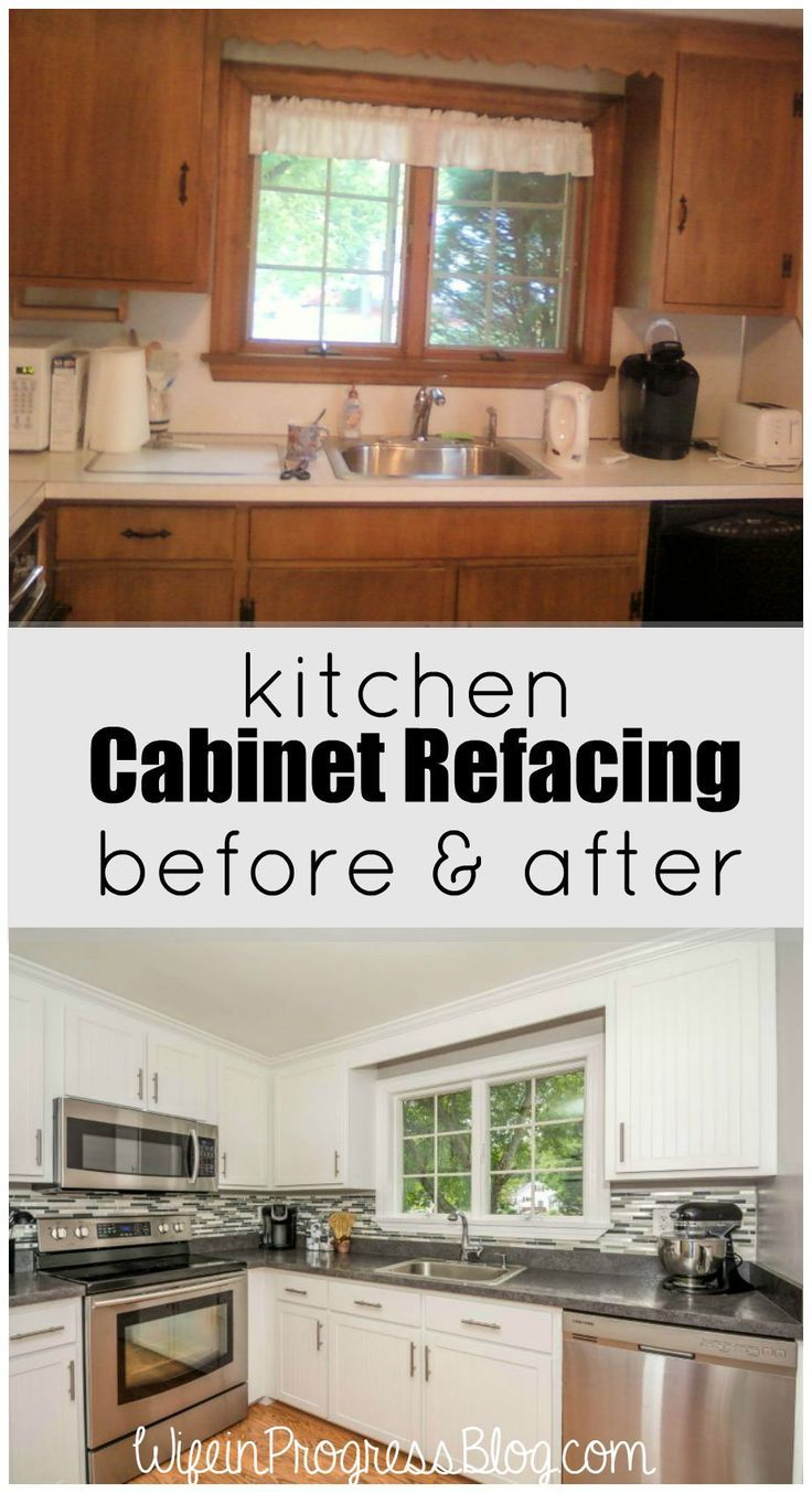 Kitchen Cabinet Refacing - a cheaper solution than ripping out all old cabinets. Looks just as good as new cabinets, too!