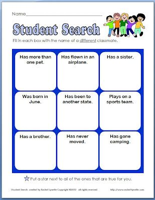 """Back to school activities:  Icebreakers for back to school: FREE Student Ice Breaker """"Student Search"""" game."""