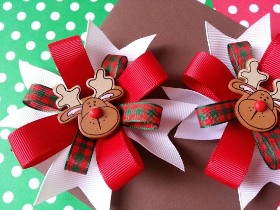 Christmas Hair Bows for Girls by Pinnwheel on Etsy, $9.50