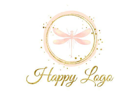 Custom logo design, dragonfly pink gold logo, dragonfly logo, coral peach logo, feminine elegant logo, pink gold logo, graphic logo design