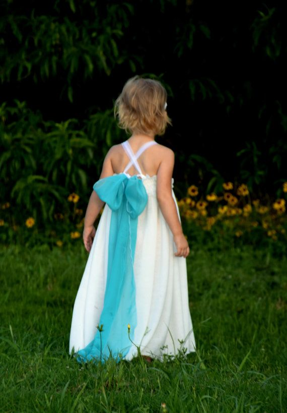 simple flower girl dress white chiffon lace free flowing beach wedding shabby chic teal aqua princess queen elsa birthday frozen custom on Etsy, $65.00