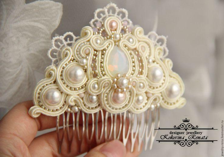 Soutache comb for wedding look | Купить Свадебный гребень. Сутажная техника. - винтажный гребень, винтажный стиль, свадебные аксессуары