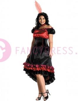 Can Can Cutie Kostuum (Maatje groter)      Dit   Can Can Cutie kostuum bestaat uit:  Een mooie glinsterende zwart/rode jurk met een gelaagde zwart/rood/roze ruches rok en een korset stijl taille versierd met  strikken.  een rode gevederde helm  Een  zwart/rood halsbandje.    Dit kostuum zou ook ideaal zijn als een sedan meisje.    Maten voor dit kostuum zijn:  One Size:  maat 50 / 52  Borst: 114cm / 119cm  Taille: 94cm / 99cm  Heup: 119cm / 124cm