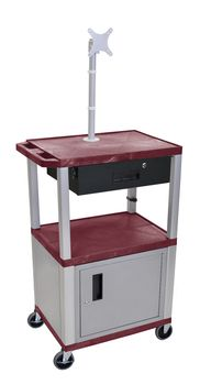 H. Wilson 3-Shelf Multipurpose Utility Cart Lockable Storage Cabinet Monitor Mount Drawer 3 Electrical Outlet Burgundy Nickel