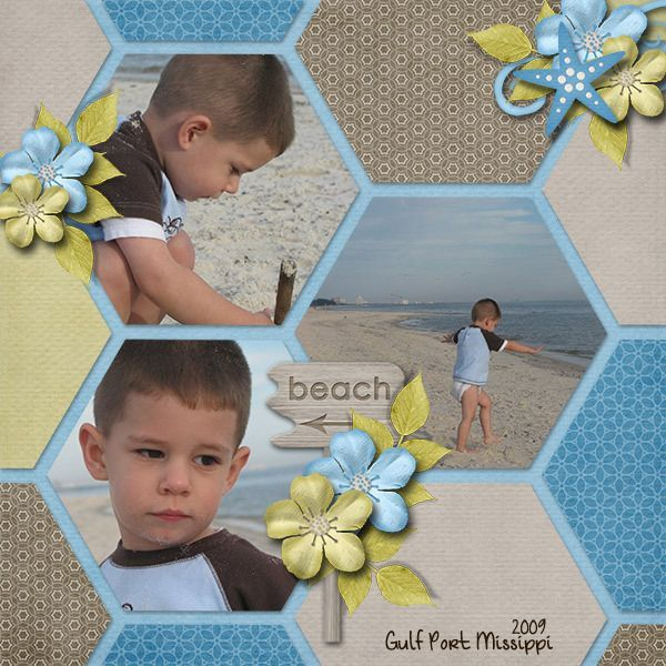 Simple Set 7 Templates :: Gotta Pixel Digital Scrapbook Store ~ love the hexagons in this scrapbook page layout