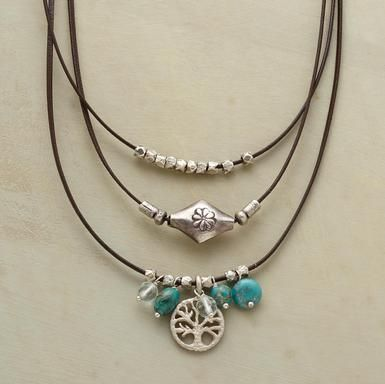 """Get instant layers with triple leather cords strung with sterling silver, turquoise and aquamarine, plus a sterling tree of life charm. Sterling silver hook clasp. Handcrafted exclusively for Sundance. 16""""L."""