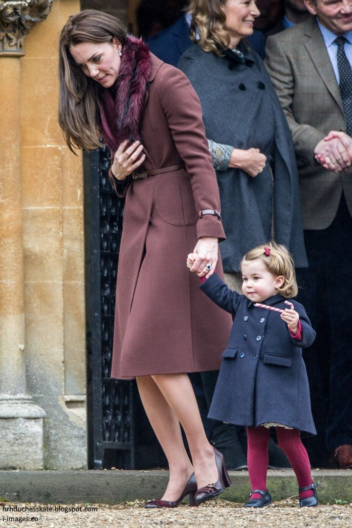 """hrhduchesskate:  Christmas Service, St Mark's, Englefield, December 25, 2016-Duchess of Cambridge and Princess Charlotte, with Carole and Michael Middleton behind them; the Duchess repeated her Hobbs """"Celeste' coat, accessorized with a faux fur collar, Tod's Pumps with Fringes, clutch, and the Queen's diamond and pearl earrings"""