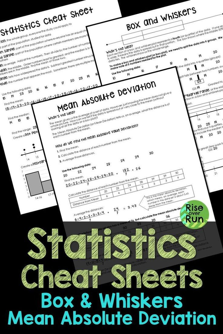 Finally Statistics Cheat Sheets For Box And Whiskers Plots And Mean Absolute Deviation Also Include Statistics Cheat Sheet Middle School Math 7th Grade Math