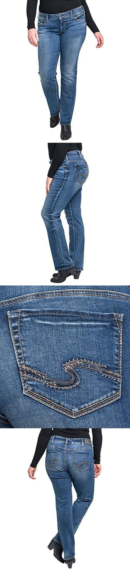 Silver Jeans Women's Plus Size Suki Curvy Fit Mid Rise Straight Leg Jeans, Medium Indigo Wash-New, 16X32