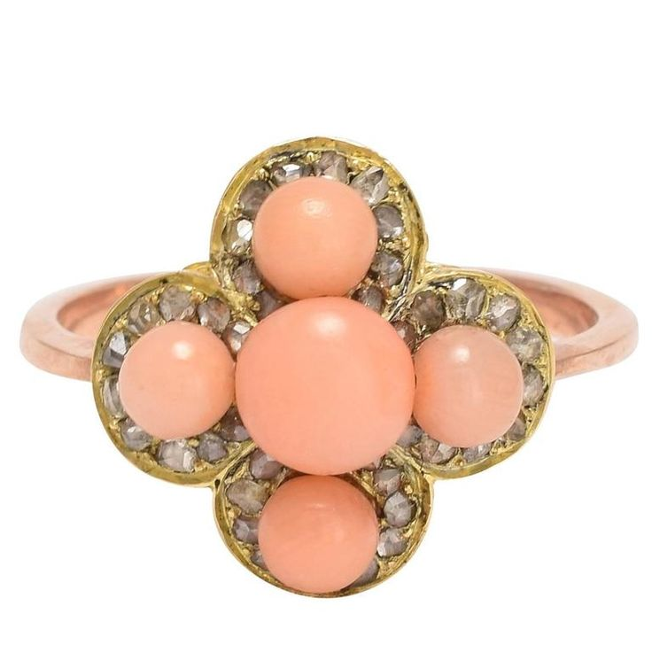 Victorian Coral Diamond Quatrefoil Ring | 1stdibs.com