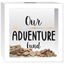 """""""Our Adventure Fund"""" Piggy Bank Make one with mason jar, and paint pens. stencils"""