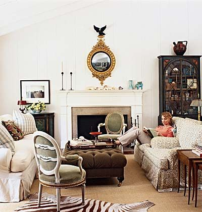 This room is a successful mix of antiques, thrift store buys, flea-market finds, and even designer pieces.