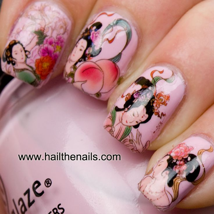 Amazing nail art!: Girls Nails, Nails Art, Nailart, Nails Design, Geishas Girls, Water Transfer, Geishas Nails, Nail Art, Art Nails