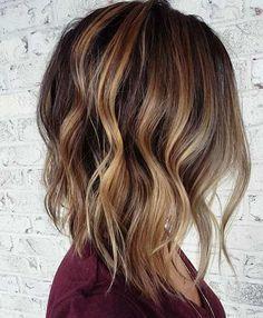 Inverted Bob Haircut + Caramel Balayage Highlights
