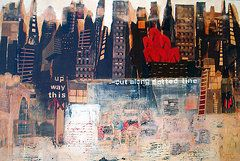 Jo Roffe - Glass Ceiling Mixed media and oils on canvas