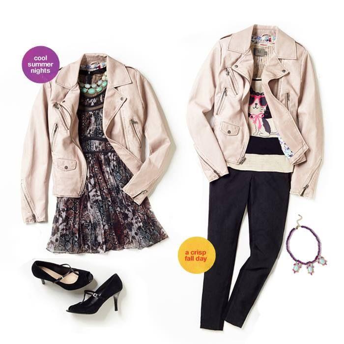 Moto jacket. Dressy-casual looks.