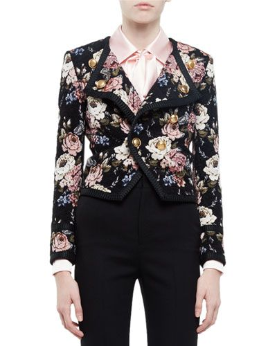 "Saint Laurent wool-blend ""Spencer"" jacket in floral print with solid trim…"