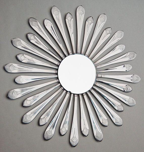 Flatware Sunburst 14 w/ Beveled Mirror Handmade by HammerandI, $85.00