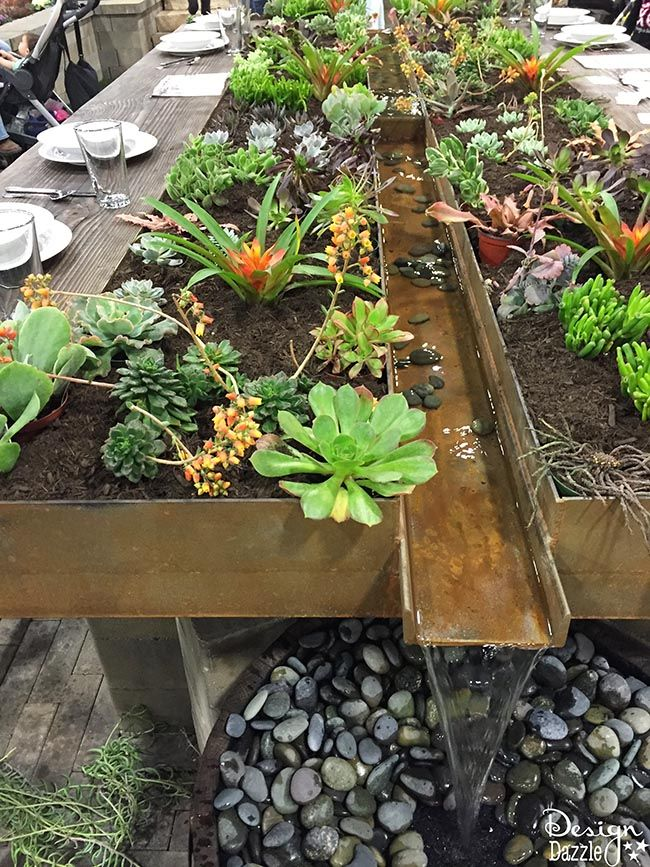 I love this indoor garden tables cape created with succulents and a water feature! It is so beautiful. Check it out on Design Dazzle.