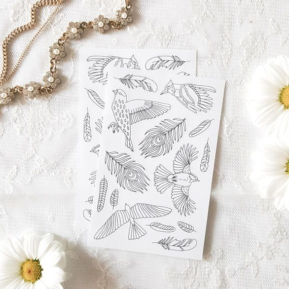 adult coloring stickers birds and feathers - boho planner stickers - paper craft supplies school - back to school stationery - bohemian art by AnnaGrundulsDesign