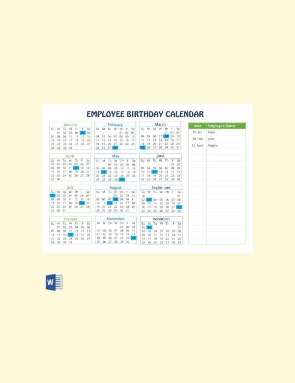 Birthday Calendar Calendar Template Crafts Pinterest