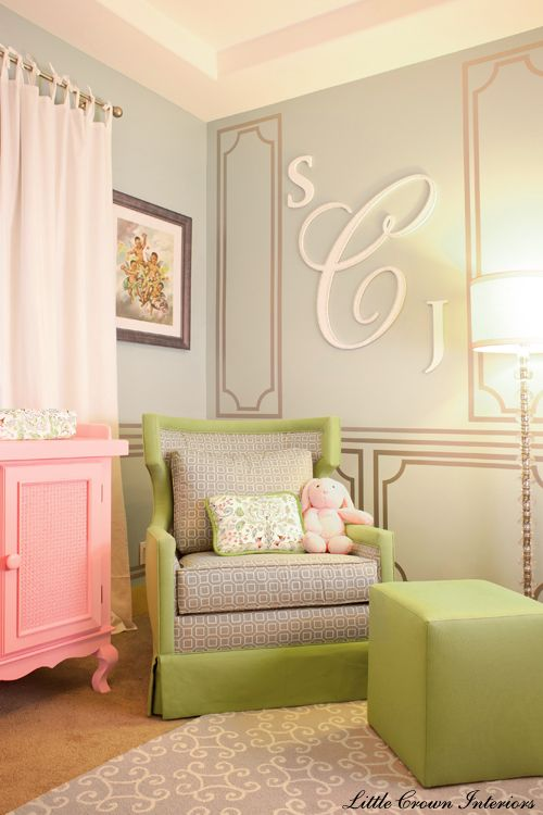 We adore this nursery for Laila Ali's baby, especially the monogram! #nursery: Nurseries, Color, Kids Room, Monogram, Girls Room, Nursery Ideas, Baby Room, Baby Girls, Girl Rooms