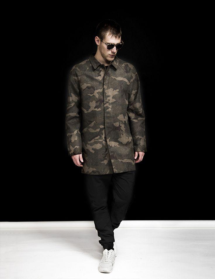 RVLT - men's fashion. Poly/wool blend jacket in mac style.