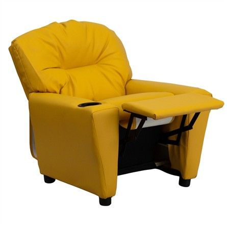 The Modern Kids' Yellow Vinyl Recliner with Cup Holder will become your child's favorite perch!