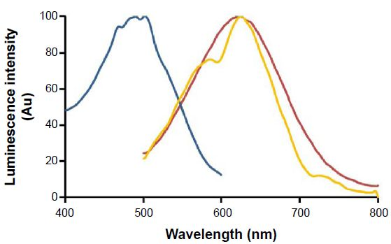Figure S1 Fluorescence excitation (blue line) and emission (red line) spectra of NP-DCM nanoparticles in saline buffer...