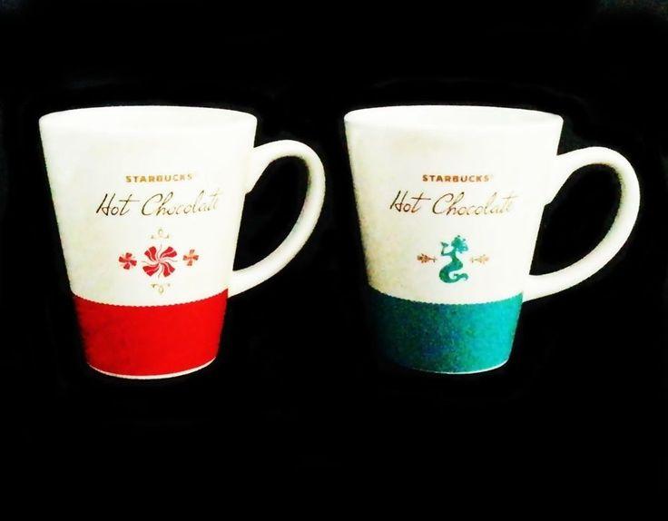 Two Starbucks Mug Set Hot Chocolate Large Discontinued Christmas Winter #Starbucks