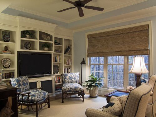 I have sliding glass doors on all 4 walls of the sun room (the wall separating the sun room from the family room is a slider, even!), and I plan on using this kind of shade on the 3 exterior sliders. Bamboo Roman blinds | Southern Hospitality